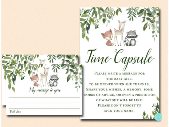 tlc653-time-capsule-sign-5x7-girl-greenery-woodland-animals-baby-shower-game
