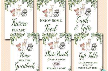 greenery-woodland-baby-shower-table-signs-decoration