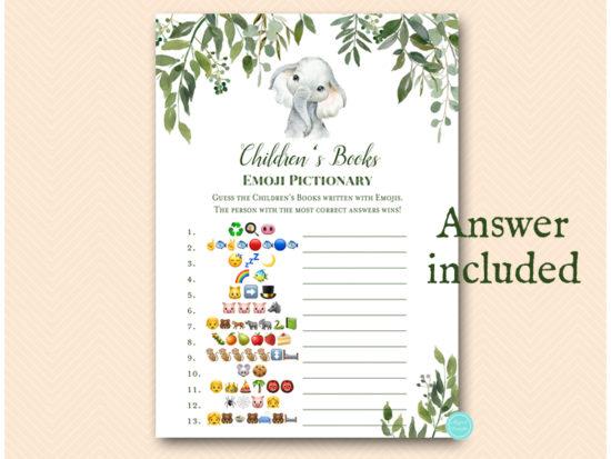 tlc663-childrens-book-emoji-game-leafy-elephant-baby-shower-game