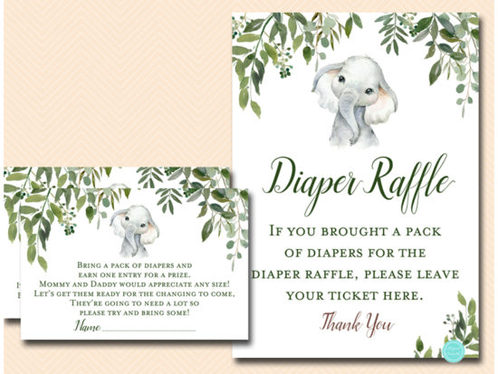 tlc663-diaper-raffle-sign-leafy-elephant-baby-shower-game