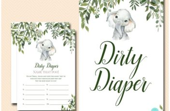 tlc663-dirty-diaper-sign-leafy-elephant-baby-shower-game