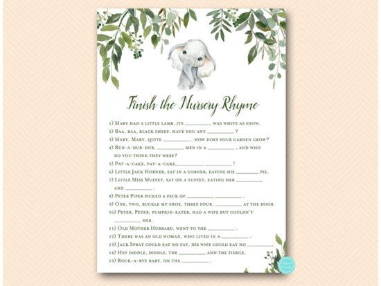 tlc663-nursery-rhyme-quiz-jungle-elephant-baby-shower-game