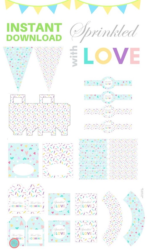 sprinkled with love party printable ice cream theme