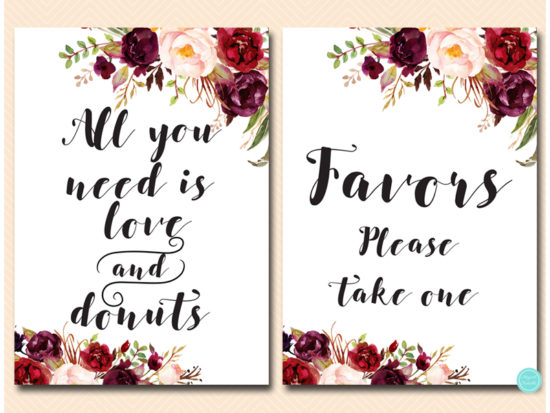 bs649-sign-all-your-need-is-love-donuts-burgundy-boho-floral-table-sign