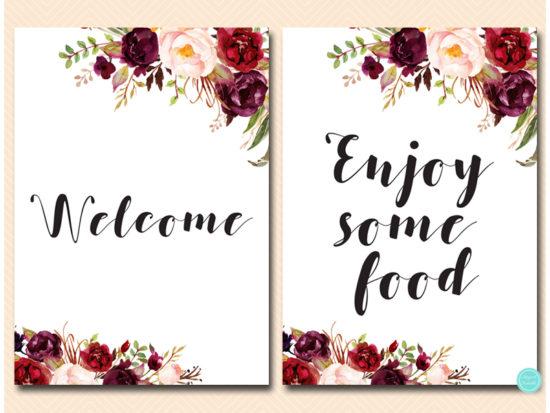 bs649-sign-enjoy-some-food-welcome-burgundy-boho-floral-table-sign
