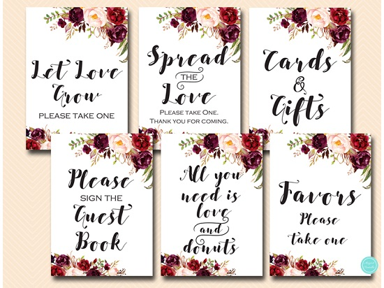 burgundy-boho-floral-wedding-bridal-table-sign-550