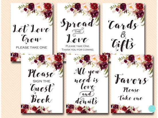 burgundy-boho-floral-wedding-bridal-table-sign-decorations