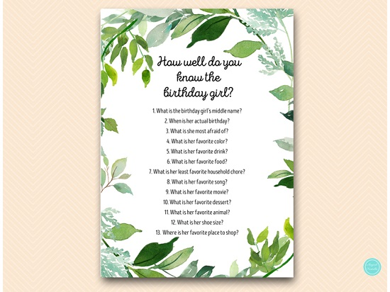 how-well-do-you-know-birthday-girl-greenery-botanical-party