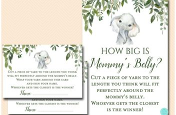 how-big-is-mommys-belly-greenery-elephant-baby-shower