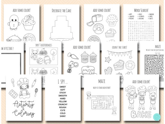 baking party activity and coloring pages printable download