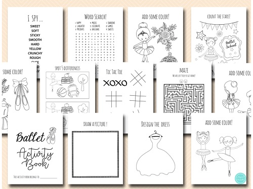 ballerina party activity and coloring book sheets DOWNLOAD