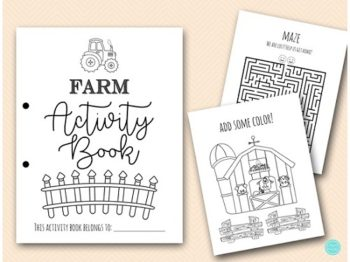 farm party activity and coloring book for kids