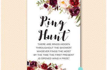 burgundy-floral-bridal-shower-ring-hunt-game
