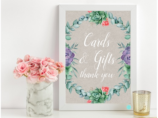 succulent card and gifts sign