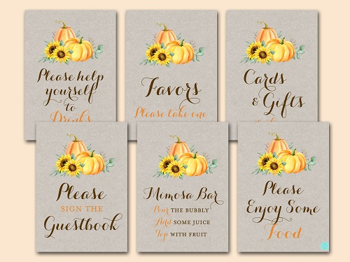 sunflower-pumpkin-baby-shower-table-signs