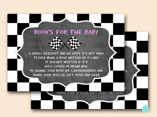 chalkboard-racing-car-baby-shower-books-for-baby-pink