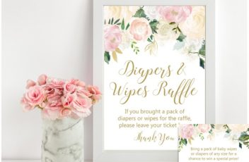 Diapers and Wipes Raffle Tickets and Sign
