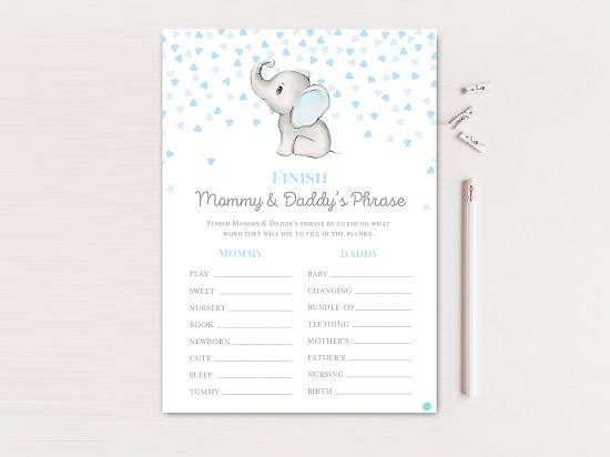 tlc689-finish-phrase-mom-dad-gray-blue-elephant-baby-shower
