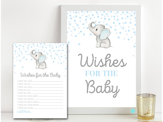 tlc689-wishes-for-baby-sign-gray-blue-elephant-baby-shower