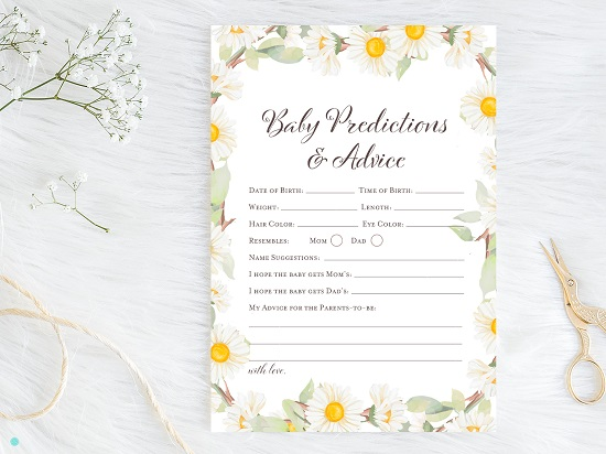 tlc691-predictions-and-advice-card-spring-daisy-themed-baby-shower
