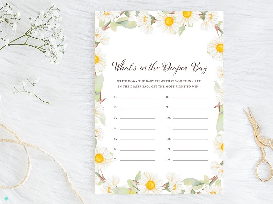 tlc691-whats-in-diaper-bag-spring-daisy-themed-baby-shower