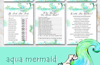 aqua-mermaid-themed-bridal-shower-games
