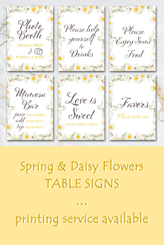 daisy-themed-baby-shower-table-signs