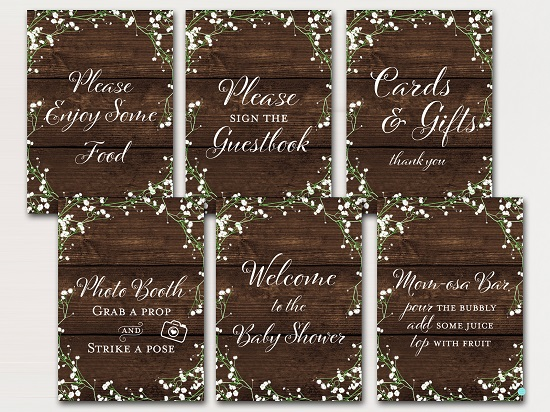 rustic-baby-breath-flower-baby-shower-table-signs