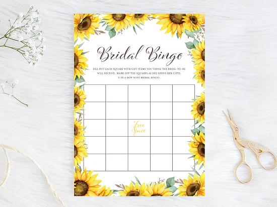 bingo-bridal-shower-sunflower-theme