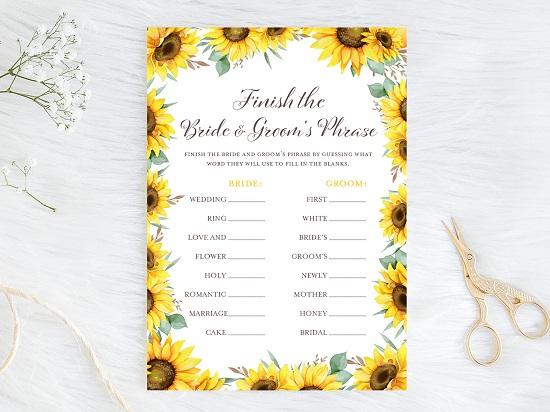 finish-bride-and-groom-phrase-sunflower-theme