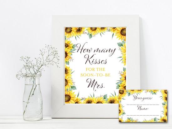 how-many-kisses-sunflower-theme-bridal-shower
