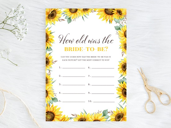 how-old-was-bride-sunflower-theme-bridal-shower