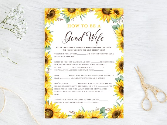 how-to-be-a-good-wife-1950-guide-sunflower-theme-bridal-shower