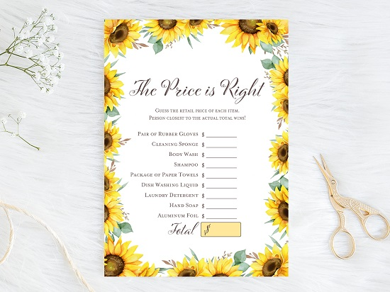 price-is-right-bridal-sunflower-theme-bridal-shower