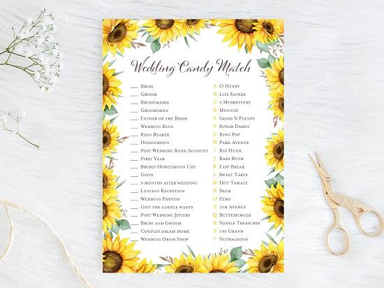 wedding-candy-match-sunflower-theme-bridal-shower