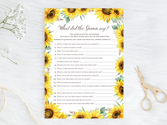 what-did-the-groom-say-sunflower-theme-bridal-shower