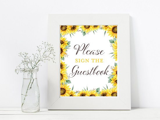 guestbook-sunflower-theme-sign