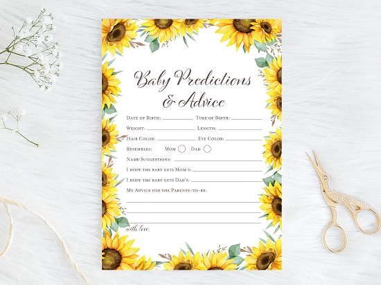 prediction-and-advice-sunflower-theme-baby-shower