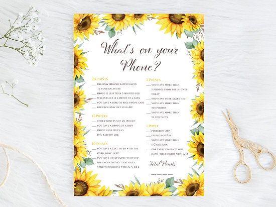 whats-on-your-phone-baby-sunflower-theme-baby-shower