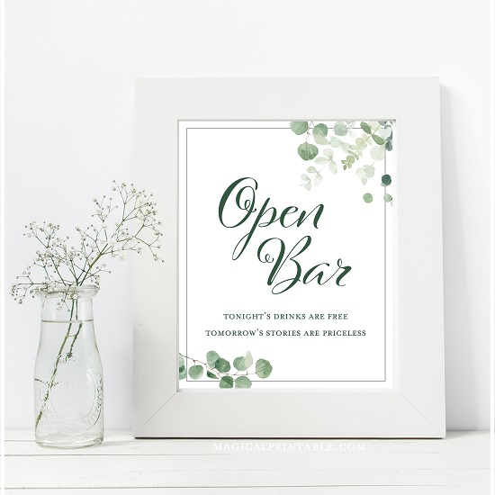 eucalyptus-greenery-baby-shower-table-signs-open-bar-8x10