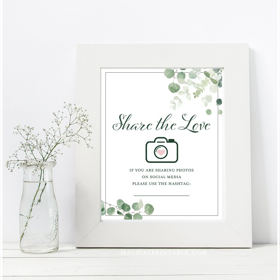 eucalyptus-greenery-baby-shower-table-signs-share-the-love-social-media-hash-8x10