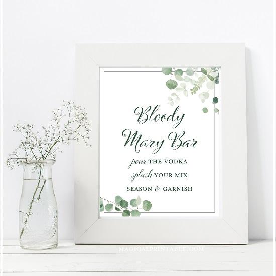eucalyptus-greenery-wedding-table-signs-bloody-mary-bar-8x10