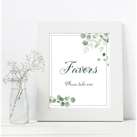 eucalyptus-greenery-wedding-table-signs-favors-please-take-one-8x10