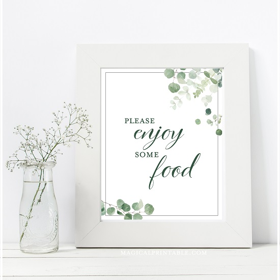 eucalyptus-greenery-wedding-table-signs-food-enjoy-8x10