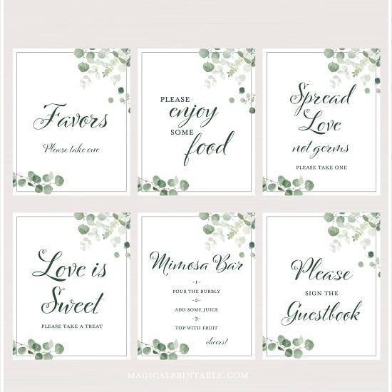 Eucalyptus greenery wedding table signs baby shower sign