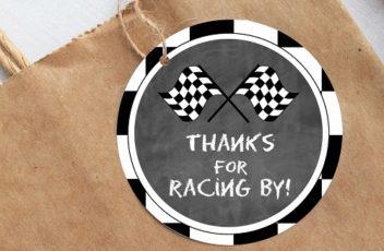 racing car thank you tags