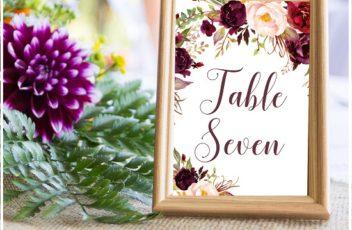 Burgundy Wedding Table Numbers