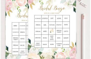 Blush Pink and Gold Bridal Shower Prefilled Bingo Cards
