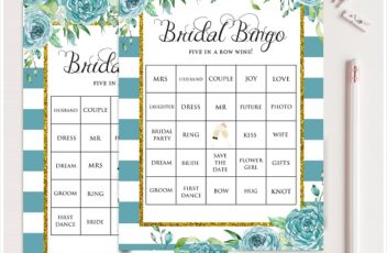 Teal Bridal Shower Prefilled Bingo Cards