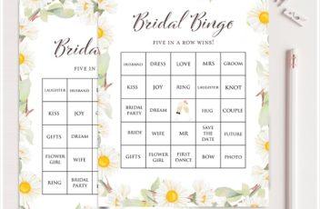 Daisy Bridal Shower Prefilled Bingo Cards